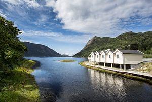 Vissershuisjes aan het Fjord van