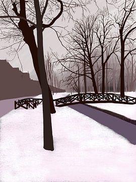 Wilhelminapark Utrecht dans la neige sur Jadzia Klimkiewicz