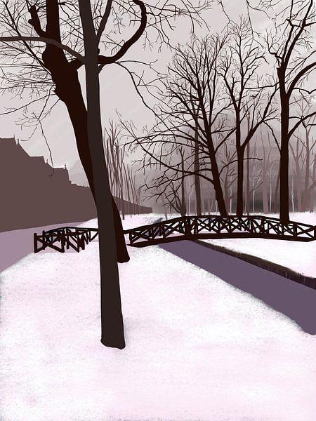Wilhelminapark Utrecht im Schnee von Jadzia Klimkiewicz