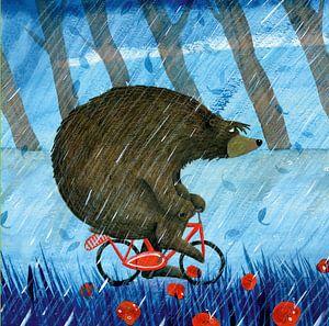 Bär im Regen von