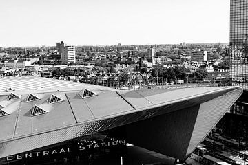 Centraal station Rotterdam B&W Edition  van Truckpowerr