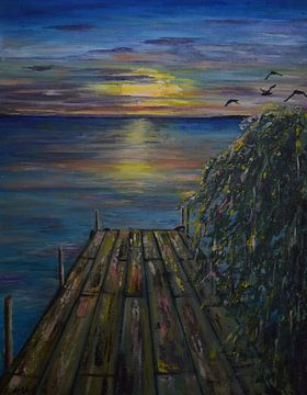 sunset at the dock van Art by Esther de Wolf