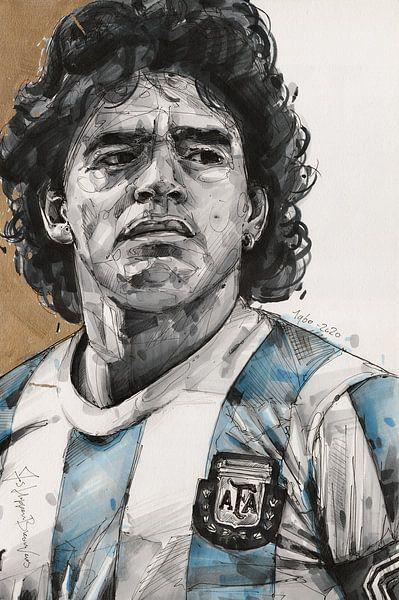 Diego Maradona schilderij van Jos Hoppenbrouwers
