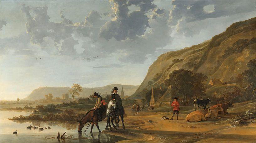 Rivierlandschap met ruiters, Aelbert Cuyp, 1653 - 1657 van Meesterlijcke Meesters