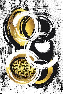 Abstracte Schilderij nr. 2 goud van Melanie Viola