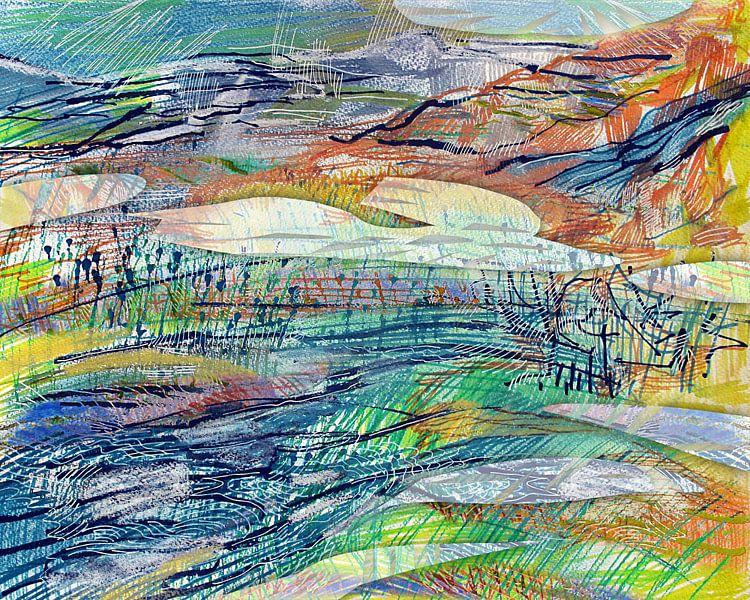Abstract landschap 120215 van Eva van den Hamsvoort