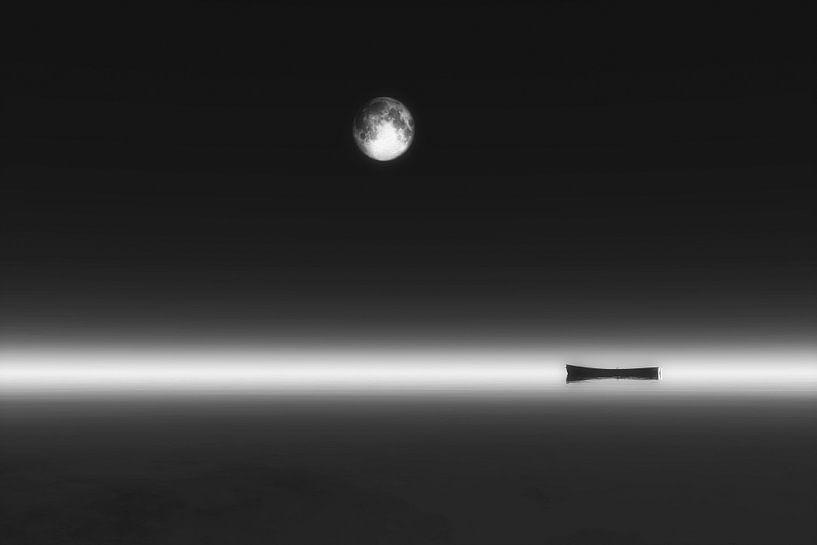 Landschap - Maan opkomst en boot van Jan Keteleer