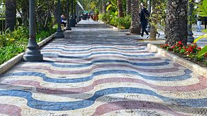 De boulevard van Alicante met zijn kleurrijk mozaiek in een golfpatroon