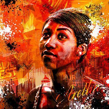 Aretha Franklin van Rene Ladenius Digital Art