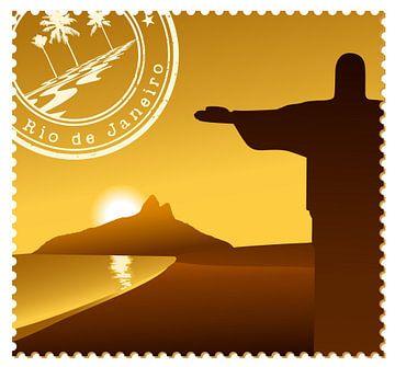 Briefmarke 'Rio de Janeiro' bei Sonnenuntergang von Henny Hagenaars