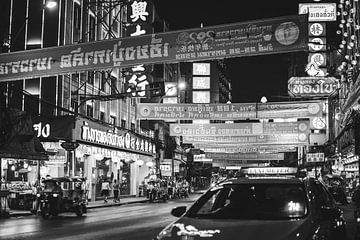 Chinatown in Bangkok in zwart/wit van Bart van Lier