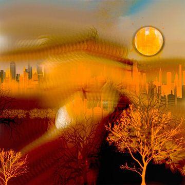 Stadt in zonlicht van Raina Versluis