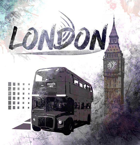 Digital-Art LONDON COMPOSING Big Ben & Red Bus sur Melanie Viola