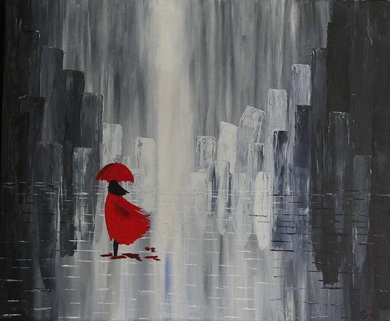 regenachtig  canvas acryl van Jolanda van den berg Thomas