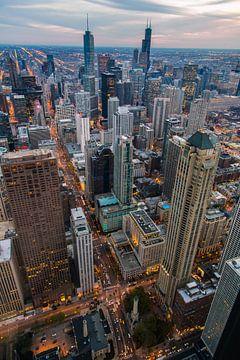 Downtown Chicago Sunset von Joram Janssen