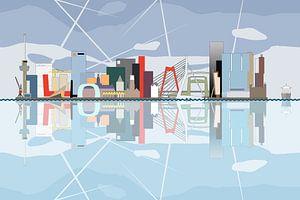 De Rotterdamse Skyline, weerspiegeld in de Maas van