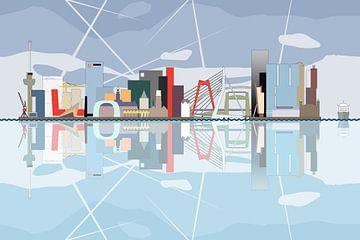 La ligne d'horizon de Rotterdam reflétés dans  la rivière. sur