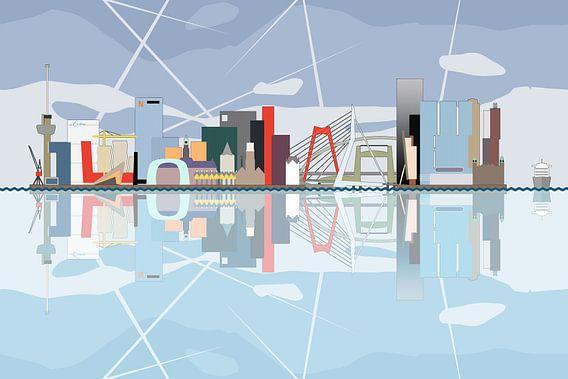 De Rotterdamse Skyline, weerspiegeld in de Maas