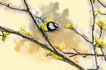 Kohlmeise im Frühling (Kunst) von Art by Jeronimo