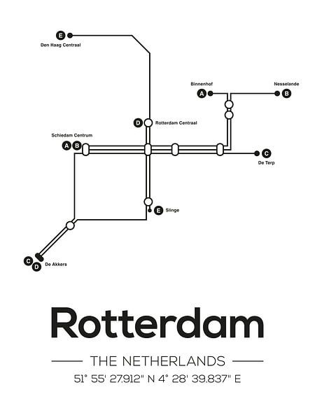 Rotterdamer U-Bahn-Linien von MDRN HOME