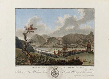Thun, von Nordosten, mit Kirche, Schloss und Befestigungen gegen Niesen und Stockhorn; Thun; Farbkup von Atelier Liesjes