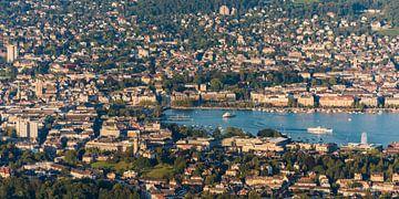 Uitzicht op Zürich en het meer van Zürich van Werner Dieterich