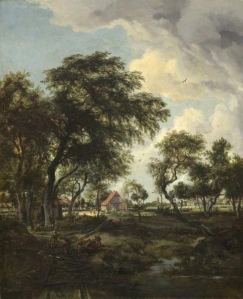 Ein Bauernhof im Sonnenlicht, Meindert Hobbema von Meesterlijcke Meesters