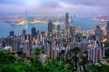 Het uitzicht van Hong Kong van Victoria Peak van