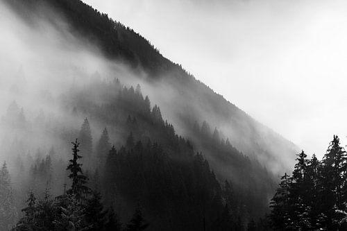 Regen in den Alpen in Schwarzweiss von Hidde Hageman