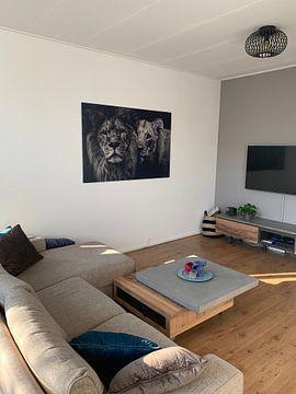Kundenfoto: Löwe schwarz-weiß mit Titel: Löwenpaar von Hendrik Jonkman