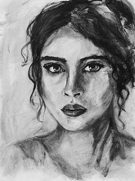Abstrakte intuitive Porträt Frau mit schwarzen Haaren in schwarz und weiß von Bianca ter Riet