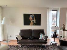 Klantfoto: Meisje met de Parel 2, liggend., op canvas