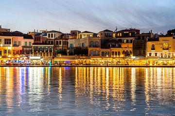 Venetiaanse haven van Chania, Kreta, Griekenland van Peter Schickert