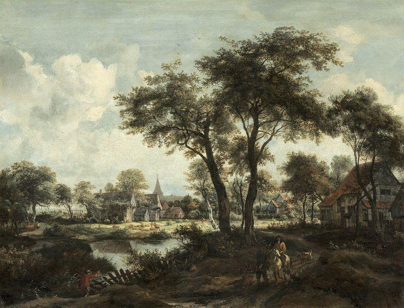 Dorf in der Nähe eines Pools, Meindert Hobbema von Meesterlijcke Meesters