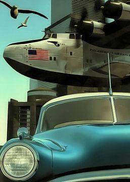 Retro – Klassiek Oldtimer-auto en vliegtuig met vrijheidsmeeuwen