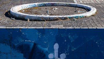Dakterras en muurschildering van Dick Doorduin
