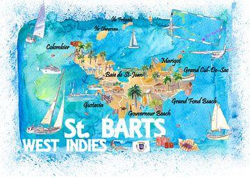 St. Barts Antillen Illustrierte Karibikkarte mit Highlights der Westindischen Inseln Traum von Markus Bleichner