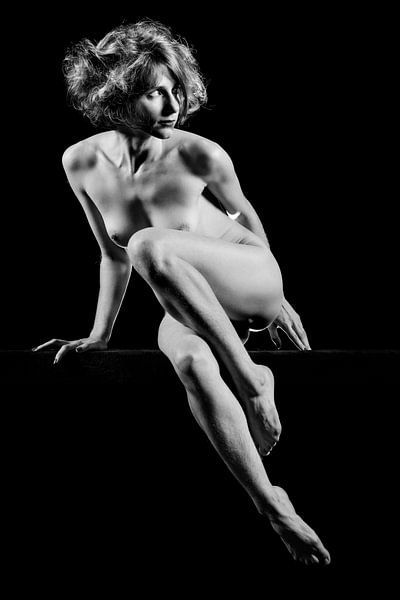 Schöne nackte Frau, fotografiert in Schwarz-Weiß #A9756 von william langeveld