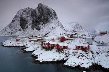 Rote Häuser im Schnee von Hannon Queiroz