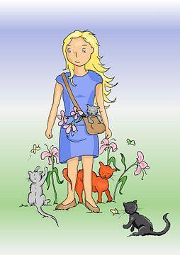Meisje met katten van Miekie's Wereld