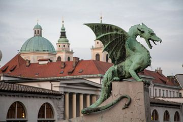 Draak op de drakenbrug in centrum Lubliana, Slovenie van Joost Adriaanse