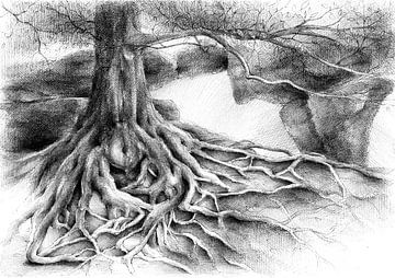 Wurzel und Felsentor aus Sandstein von Adriana Mueller