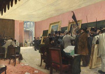Une scéance du jury de peinture, Henri Gervex sur