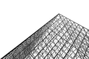 Louvre piramide zwart wit van Dennis van de Water