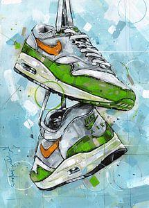 Nike air max one schilderij (groen & oranje) van Jos Hoppenbrouwers