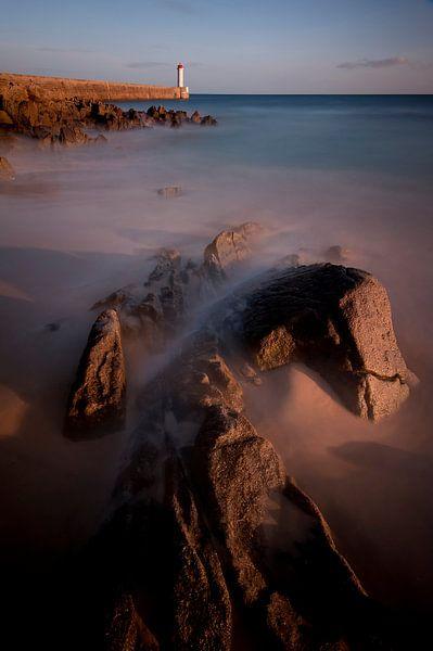 Zonsondergang aan de kust van Audierne, Bretagne van Ben Töller