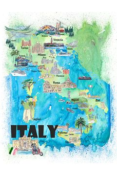 Italië Geïllustreerde reisposter Favoriete kaart Toeristische hoogtepunten van Markus Bleichner