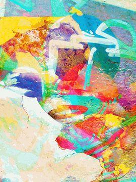 Modern, Abstract Digitaal Kunstwerk in Oranje, Geel, Blauw van Art By Dominic
