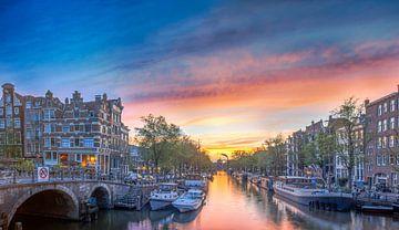 Panorama van Amsterdams mooiste gracht van Peter Bartelings Photography