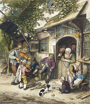 Violine mit Spieler vor einem Café, Cornelis Ploos van Amstel (ca. 1766-1770)